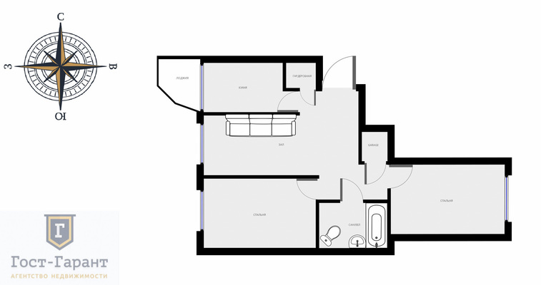 Адрес: 6-я Радиальная улица, дом 3к6, агентство недвижимости Гост-Гарант, планировка: Индивидуальный проект , комнат: 3. Фото 13