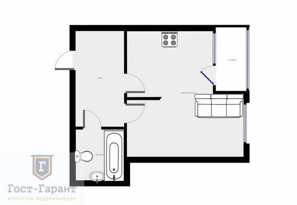 Адрес: Николо-Хованская улица, дом 26к1, агентство недвижимости Гост-Гарант, планировка: Индивидуальный проект , комнат: 1. Фото 7