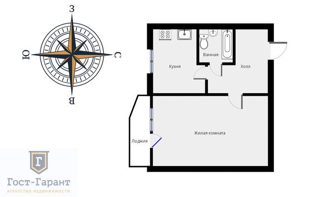 Адрес: Батайский проезд, дом 37, агентство недвижимости Гост-Гарант, планировка: П44, комнат: 1. Фото 11