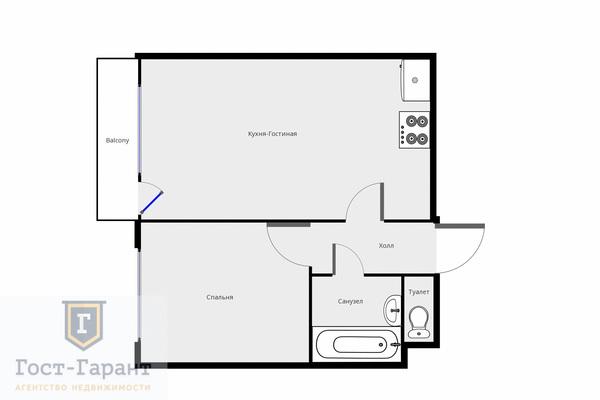 Адрес: Гимнастическая улица, дом 30, агентство недвижимости Гост-Гарант, планировка: Индивидуальный проект, комнат: 2. Фото 11