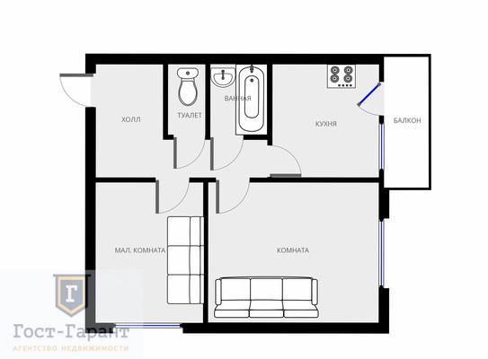 Адрес: Люблинская улица, дом 33/2к1, агентство недвижимости Гост-Гарант, планировка: II-18/12, комнат: 2. Фото 8