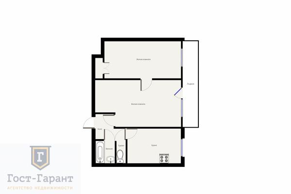 Адрес: Инициативная улица, дом 8к2, агентство недвижимости Гост-Гарант, планировка: И-209А, комнат: 2. Фото 12