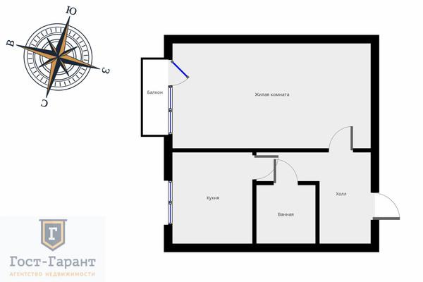 Адрес: Шокальского проезд, дом 67к2, агентство недвижимости Гост-Гарант, планировка: II-29-160, комнат: 1. Фото 8