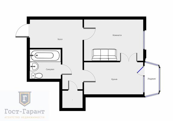 Адрес: Большая Набережная, дом 19к2, агентство недвижимости Гост-Гарант, планировка: Индивидуальный проект, комнат: 1. Фото 8