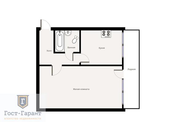 Адрес: Флотская улица, дом 27, агентство недвижимости Гост-Гарант, планировка: Индивидуальный проект, комнат: 1. Фото 10