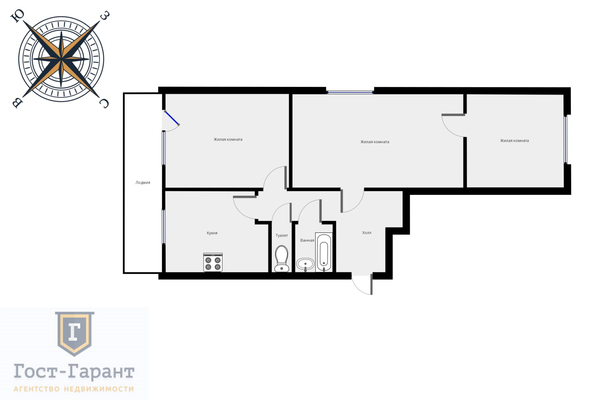 Адрес: Федеративный проспект, 42к1, агентство недвижимости Гост-Гарант, планировка:  И-209А, комнат: 3. Фото 16