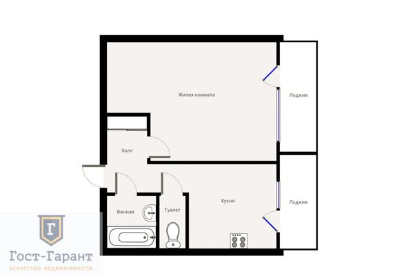 Адрес: Плещеева улица, дом 8, агентство недвижимости Гост-Гарант, планировка: П46, комнат: 1. Фото 12