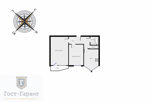 Адрес: Ковров переулок, дом 4к2, агентство недвижимости Гост-Гарант, планировка: П44Т, комнат: 2. Фото 10