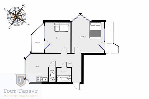 Адрес: Самуила Маршака улица, дом 21, агентство недвижимости Гост-Гарант, планировка: П44К, комнат: 2. Фото 13