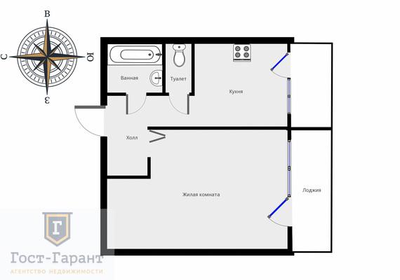 Адрес: Коненкова улица, дом 21, агентство недвижимости Гост-Гарант, планировка: П47, комнат: 1. Фото 8