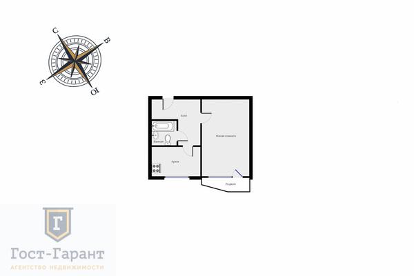 Адрес: Хлобыстова улица, дом 12к2, агентство недвижимости Гост-Гарант, планировка: П44Т, комнат: 1. Фото 8
