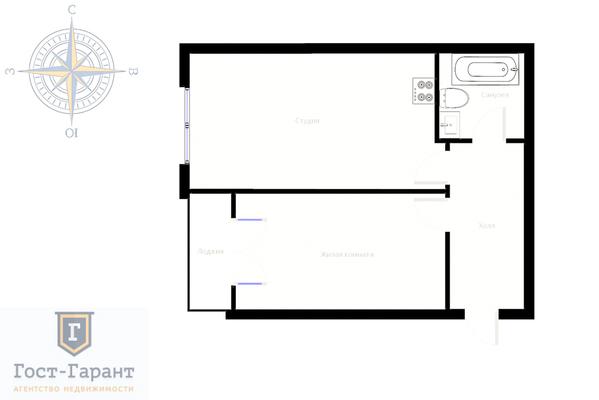 Адрес: Химки, Совхозная улица, дом 11, агентство недвижимости Гост-Гарант, планировка: Индивидуальный проект , комнат: 1. Фото 13