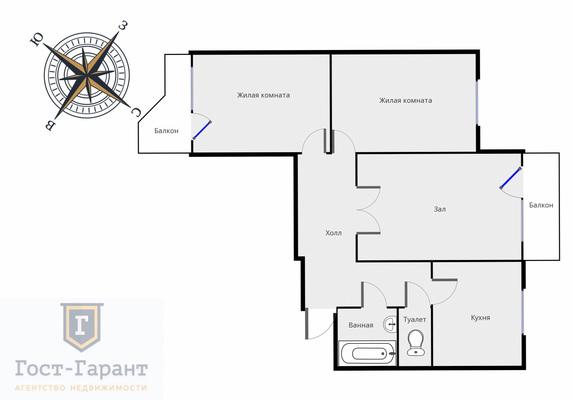 Адрес: Сокольнический вал, дом 48, агентство недвижимости Гост-Гарант, планировка: П3, комнат: 3. Фото 8