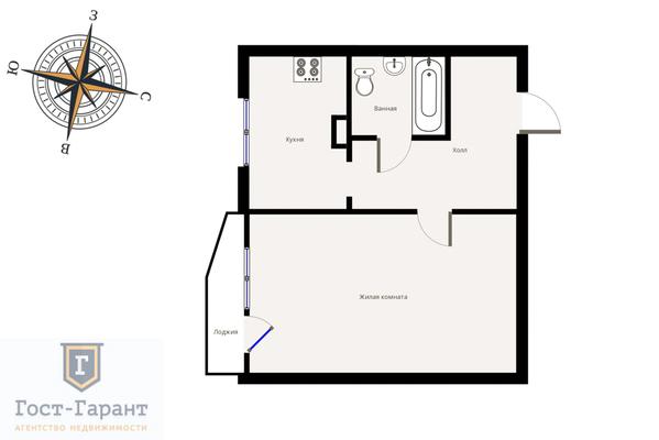 Адрес: Олеко Дундича улица, дом 13к1, агентство недвижимости Гост-Гарант, планировка: П-44, комнат: 1. Фото 8