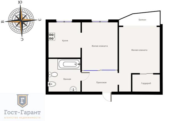 Адрес: Балаклавский проспект, дом 16К2, агентство недвижимости Гост-Гарант, планировка: П44, комнат: 2. Фото 8