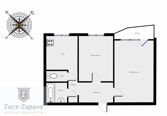 Адрес: Раменки улица, дом 14к2, агентство недвижимости Гост-Гарант, планировка: П44, комнат: 2. Фото 7