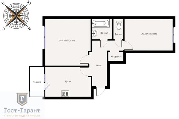 Адрес: Рублевское шоссе, дом 93к2, агентство недвижимости Гост-Гарант, планировка: П-111М, комнат: 2. Фото 11