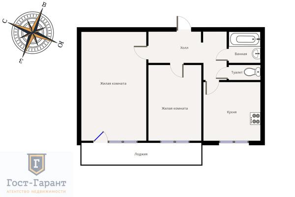 Адрес: Новоспасский переулок, дом 5, агентство недвижимости Гост-Гарант, планировка: Индивидуальный проект, комнат: 2. Фото 11