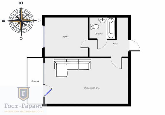Адрес: Генерала Белова улица, дом 28к1, агентство недвижимости Гост-Гарант, планировка: Индивидуальный проект, комнат: 1. Фото 8