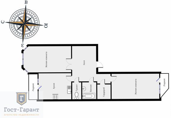Адрес: Московский, район Юго-Западный, 3-й мкр, дом 18, агентство недвижимости Гост-Гарант, планировка: Индивидуальный проект , комнат: 2. Фото 15