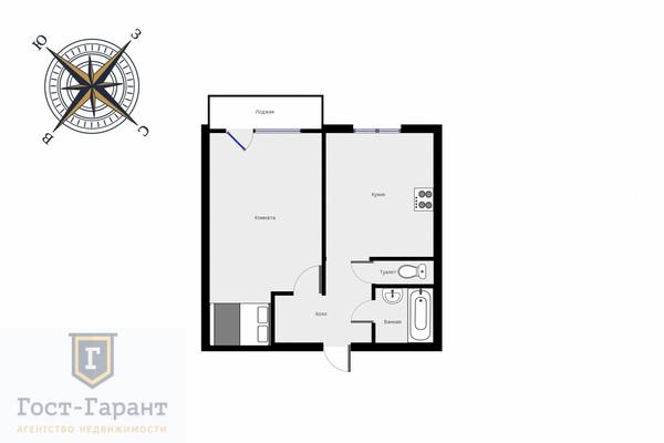 Адрес: Большая Очаковская, дом 42, агентство недвижимости Гост-Гарант, планировка: П46М, комнат: 1. Фото 11