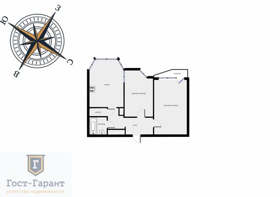 Адрес: Ясный проезд, дом 16, агентство недвижимости Гост-Гарант, планировка: п-44т, комнат: 2. Фото 12