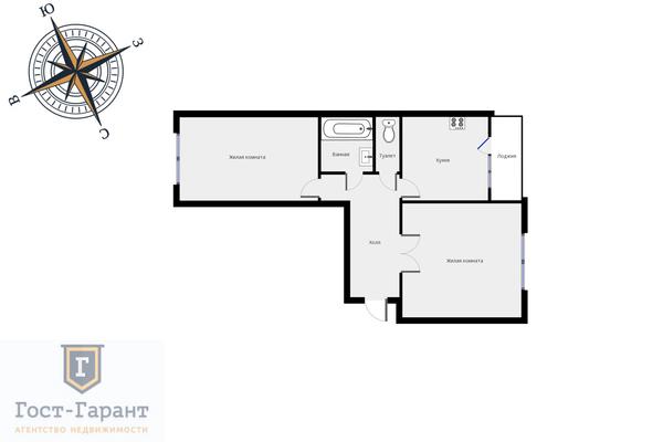 Адрес: Академика Янгеля улица, дом 14к1, агентство недвижимости Гост-Гарант, планировка: п-46, комнат: 2. Фото 13