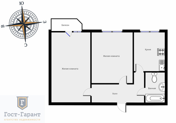 Адрес: Белореченская улица, дом 12, агентство недвижимости Гост-Гарант, планировка: П3М, комнат: 2. Фото 11