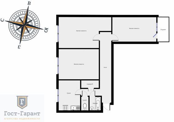 Адрес: Борисовский проезд, дом 44к3, агентство недвижимости Гост-Гарант, планировка: 1605-АМ, комнат: 3. Фото 9