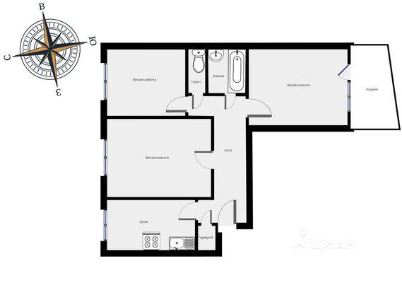 Адрес: 2-й Павловский переулок, дом 20, агентство недвижимости Гост-Гарант, планировка: I-515, комнат: 3. Фото 9