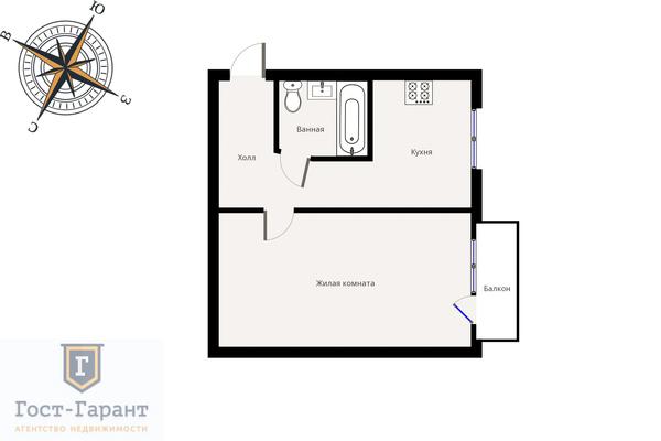 Адрес: Авангардная улица, дом 6к3, агентство недвижимости Гост-Гарант, планировка: И-511, комнат: 1. Фото 10