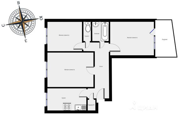 Адрес: 2-й Павловский переулок, дом 20, агентство недвижимости Гост-Гарант, планировка: I-515, комнат: 3. Фото 6