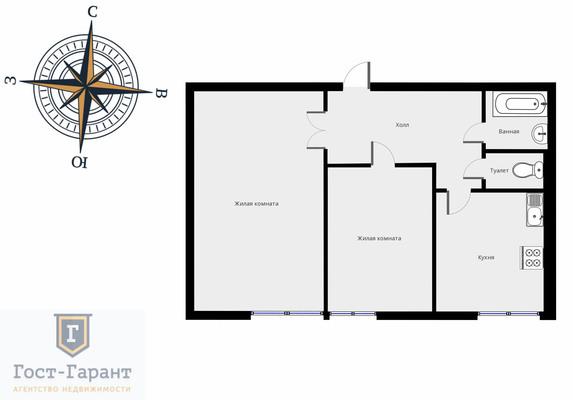 Адрес: Теплый Стан улица, дом 15к7, агентство недвижимости Гост-Гарант, планировка: П-68, комнат: 2. Фото 10