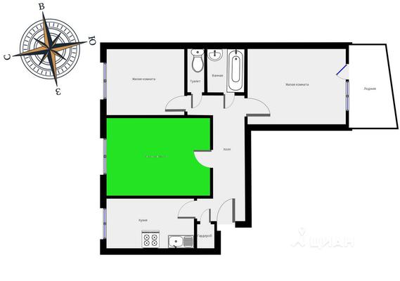 Адрес: 2-Павловский переулок, дом 20, агентство недвижимости Гост-Гарант, планировка: I-515, комнат: 3. Фото 8