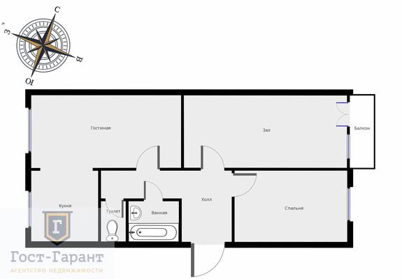 Адрес: 1-я Парковая улица, дом 14, агентство недвижимости Гост-Гарант, планировка: Индивидуальный проект , комнат: 3. Фото 14