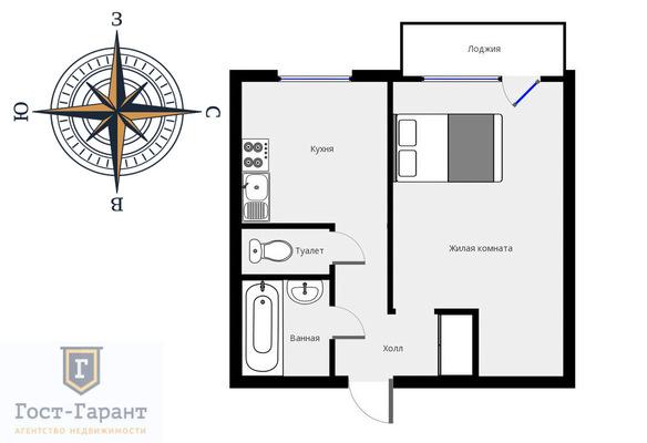 Адрес: Совхозная улица, дом 10к1, агентство недвижимости Гост-Гарант, планировка: П46М, комнат: 1. Фото 12