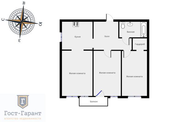 Адрес: Казарменный переулок, 8с2, агентство недвижимости Гост-Гарант, планировка: Индивидуальный проект , комнат: 3. Фото 20