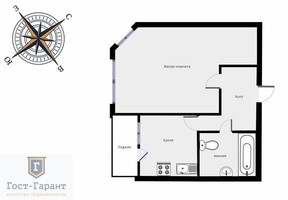 Адрес: г. Химки, Планерная микрорайон, дом 19, агентство недвижимости Гост-Гарант, планировка: ИП-46С, комнат: 1. Фото 9