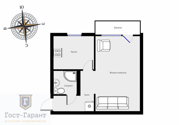 Адрес: Нагорная улица, дом 24 корпус 3, агентство недвижимости Гост-Гарант, планировка: I-511, комнат: 1. Фото 7