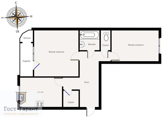 Адрес: Академика Анохина улица, дом 56, агентство недвижимости Гост-Гарант, планировка: П-111М, комнат: 2. Фото 15
