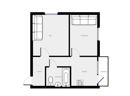 Адрес: Трехгорный вал, дом 1, агентство недвижимости Гост-Гарант, планировка: II-18/12, комнат: 2. Фото 6