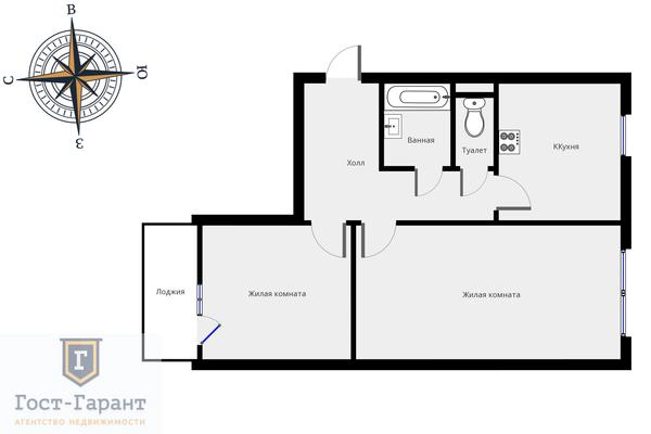 Адрес: Большая Марьинская улица, дом 11, агентство недвижимости Гост-Гарант, планировка: Индивидуальный проект , комнат: 2. Фото 12