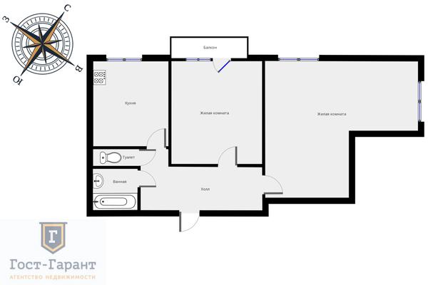 Адрес: Кутузовский проспект, дом 24, агентство недвижимости Гост-Гарант, планировка: Индивидуальный проект , комнат: 2. Фото 13