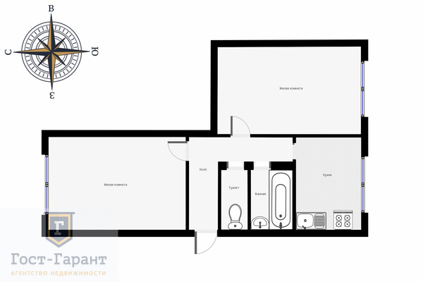 Адрес: Сиреневый бульвар, дом 23, агентство недвижимости Гост-Гарант, планировка: КПД-4572А, комнат: 2. Фото 11