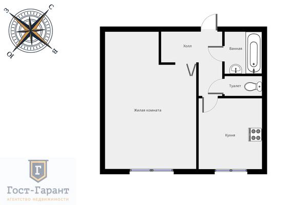 Адрес: Березовая аллея, дом 5, агентство недвижимости Гост-Гарант, планировка: П46, комнат: 1. Фото 10
