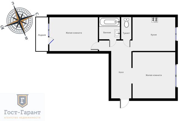 Адрес: Федеративный проспект, дом 8к1, агентство недвижимости Гост-Гарант, планировка: п 46, комнат: 2. Фото 14
