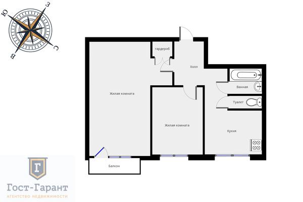 Адрес: Кронштадтский бульвар, дом 19к1, агентство недвижимости Гост-Гарант, планировка: п 18, комнат: 2. Фото 13