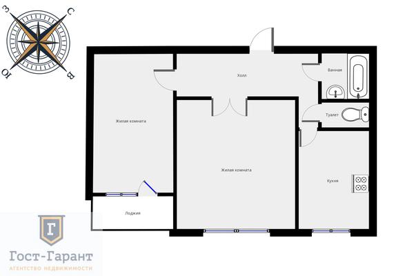Адрес: Корнейчука улица, дом 55, агентство недвижимости Гост-Гарант, планировка: п30, комнат: 2. Фото 14