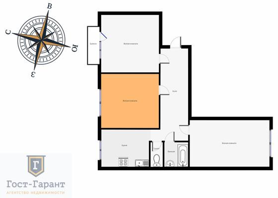 Адрес: Герасима Курина улица, дом 8к1, агентство недвижимости Гост-Гарант, планировка: П-08, комнат: 1. Фото 7