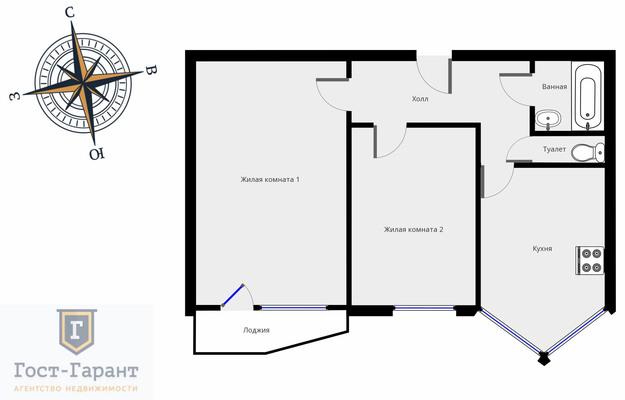 Адрес: 1-й Ботанический проезд, дом 5, агентство недвижимости Гост-Гарант, планировка: П44Т, комнат: 2. Фото 9